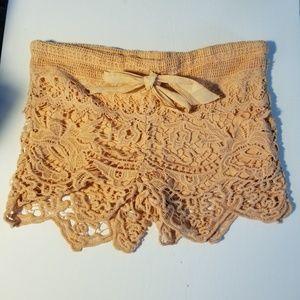 Lost Crochet Lace Peach Drawstring Shorts XS